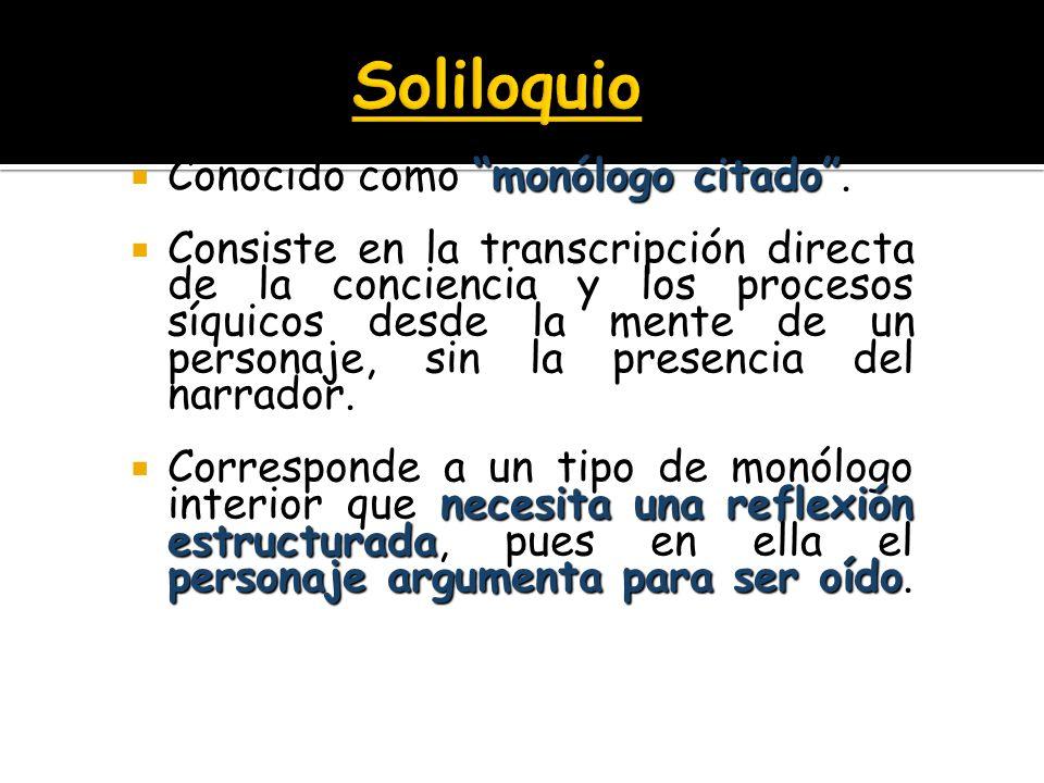 Soliloquio Conocido como monólogo citado .
