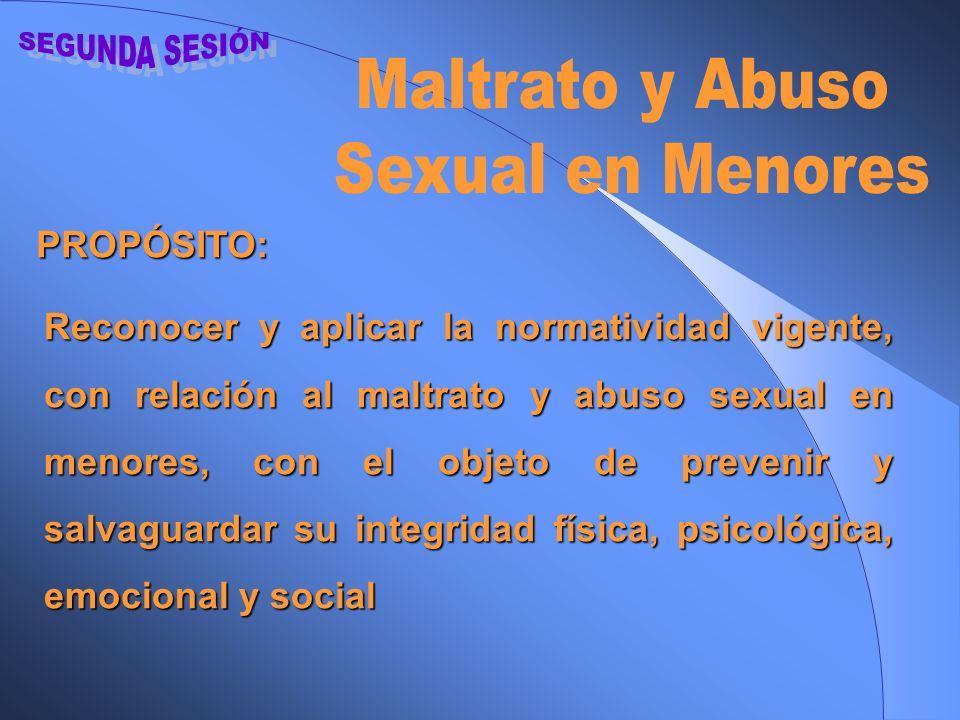 SEGUNDA SESIÓN Maltrato y Abuso Sexual en Menores PROPÓSITO: