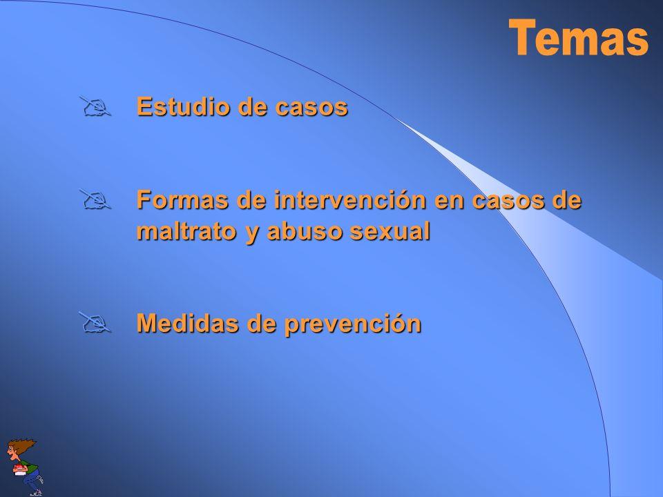 Temas Estudio de casos. Formas de intervención en casos de maltrato y abuso sexual.
