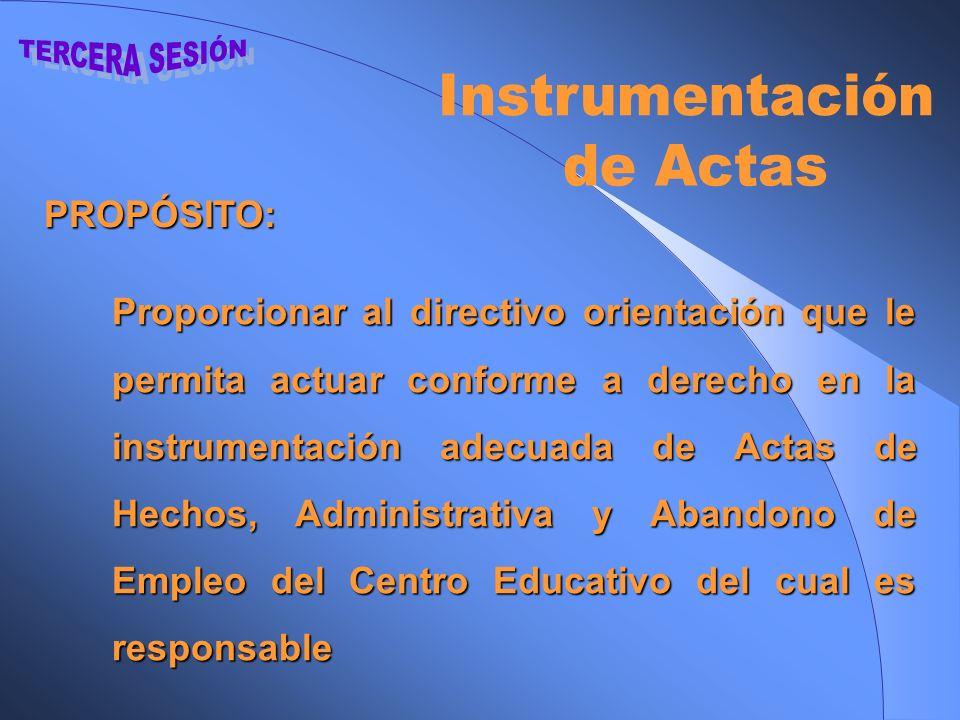 TERCERA SESIÓN Instrumentación de Actas PROPÓSITO:
