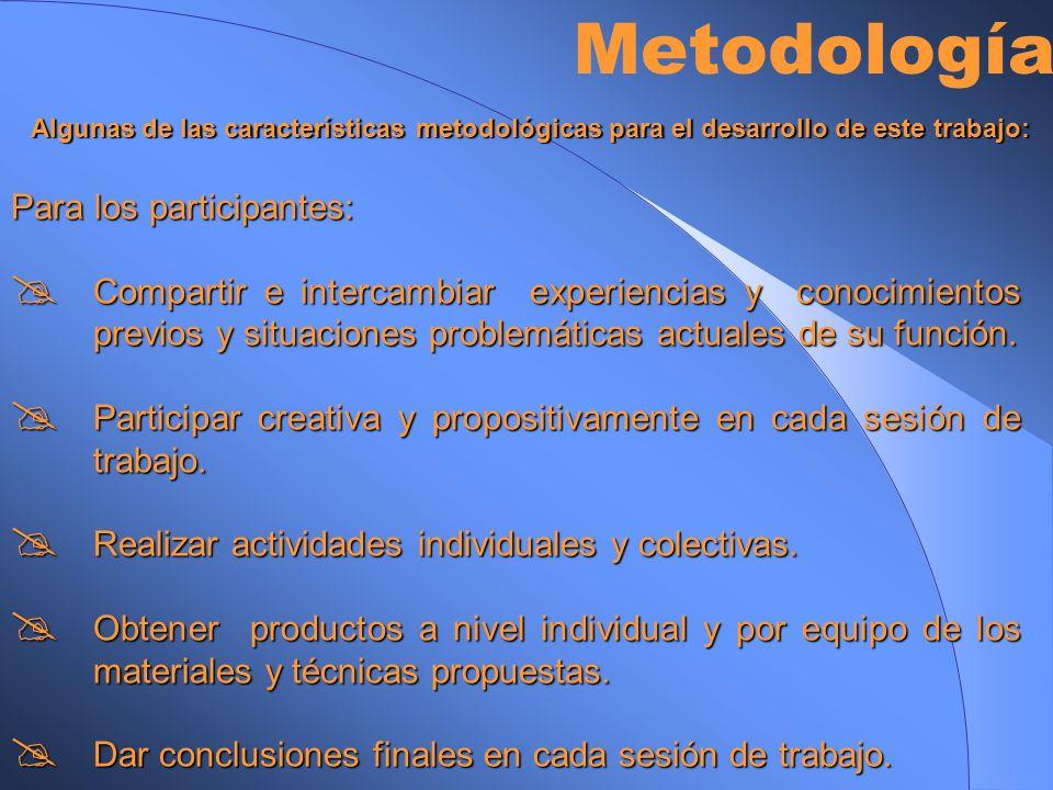 Metodología Para los participantes:
