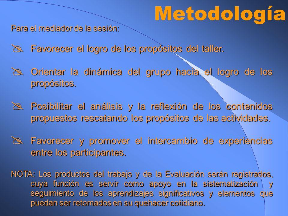 Metodología Favorecer el logro de los propósitos del taller.