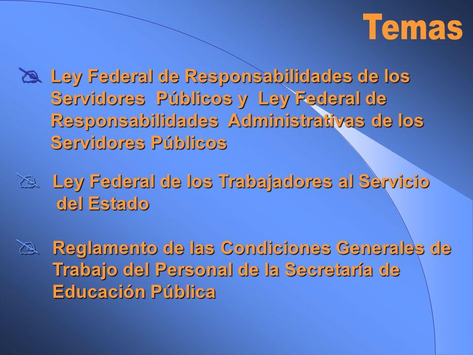 Temas Ley Federal de Responsabilidades de los Servidores Públicos y Ley Federal de Responsabilidades Administrativas de los Servidores Públicos.
