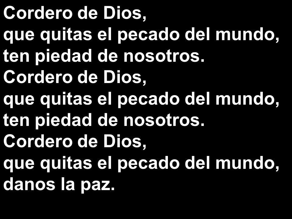 Cordero de Dios, que quitas el pecado del mundo, ten piedad de nosotros. danos la paz.