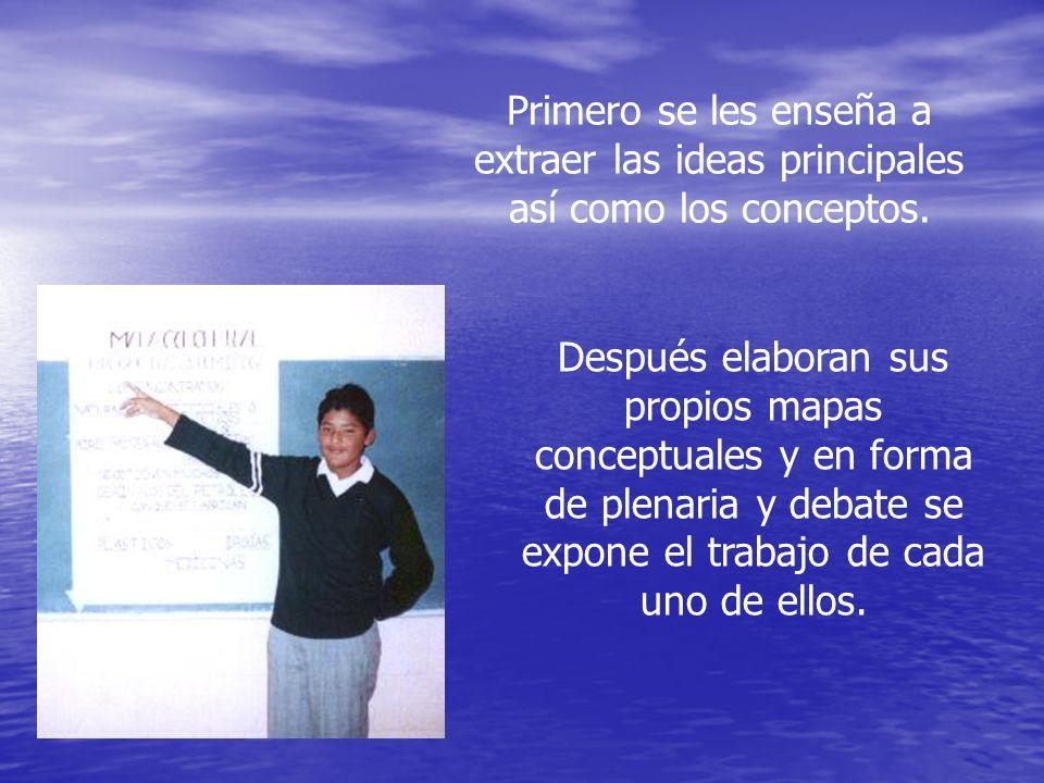 Primero se les enseña a extraer las ideas principales así como los conceptos.