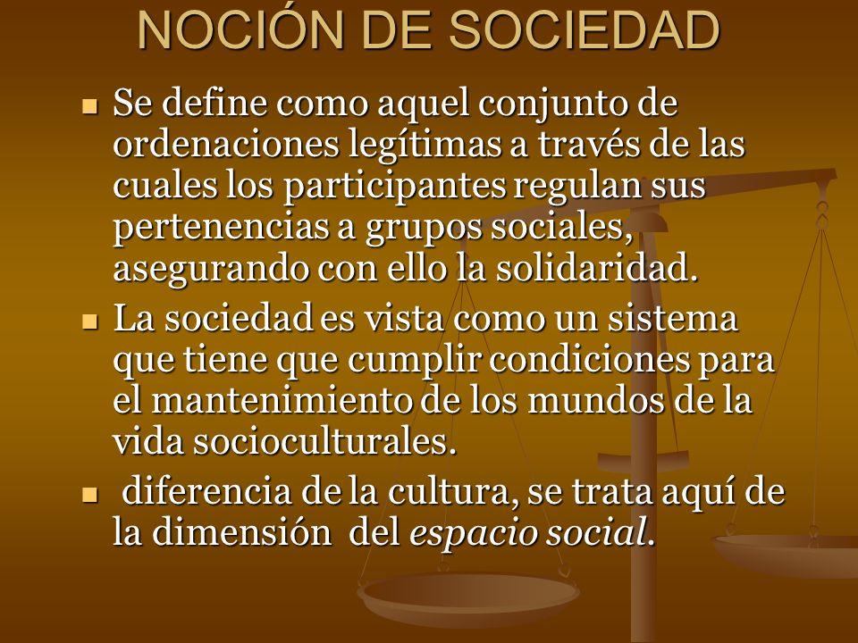 NOCIÓN DE SOCIEDAD
