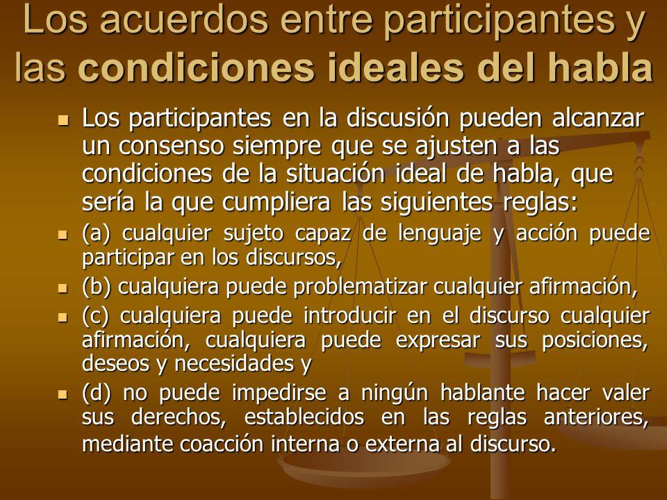 Los acuerdos entre participantes y las condiciones ideales del habla