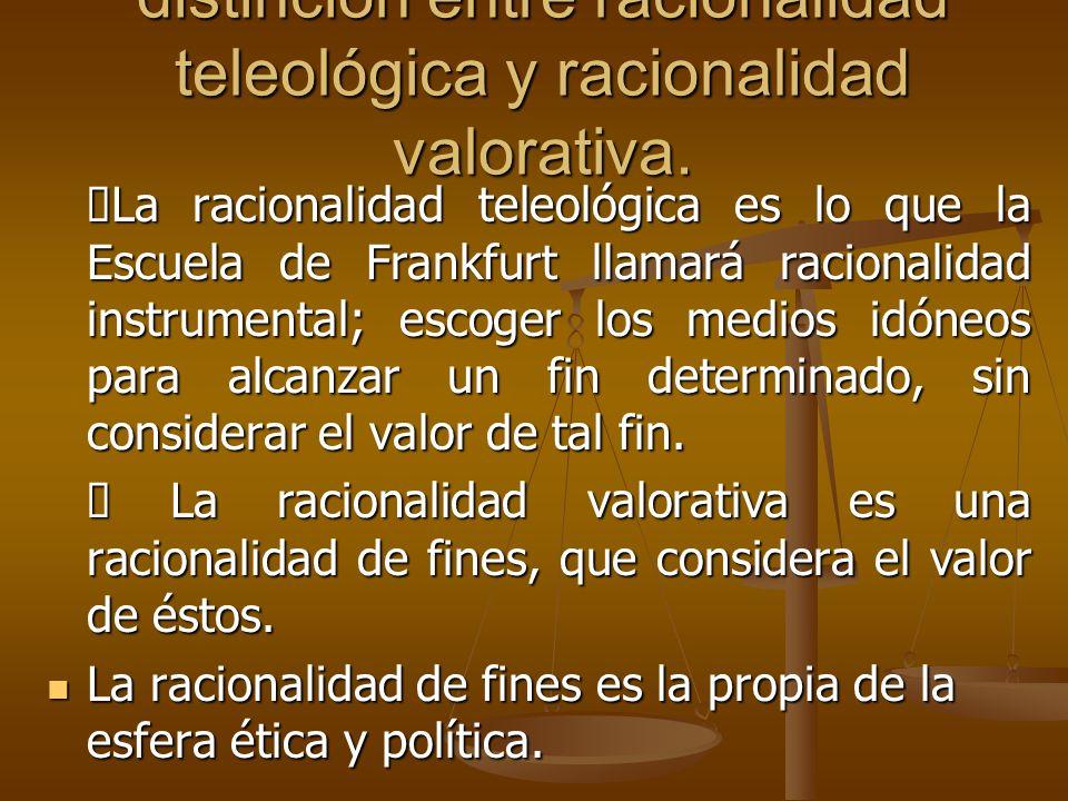distinción entre racionalidad teleológica y racionalidad valorativa.