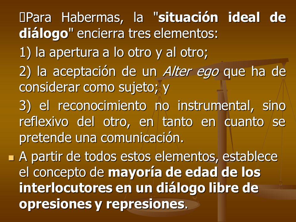 ØPara Habermas, la situación ideal de diálogo encierra tres elementos: