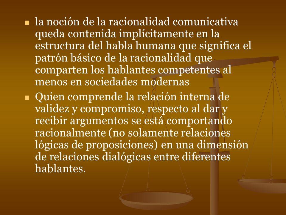 la noción de la racionalidad comunicativa queda contenida implícitamente en la estructura del habla humana que significa el patrón básico de la racionalidad que comparten los hablantes competentes al menos en sociedades modernas