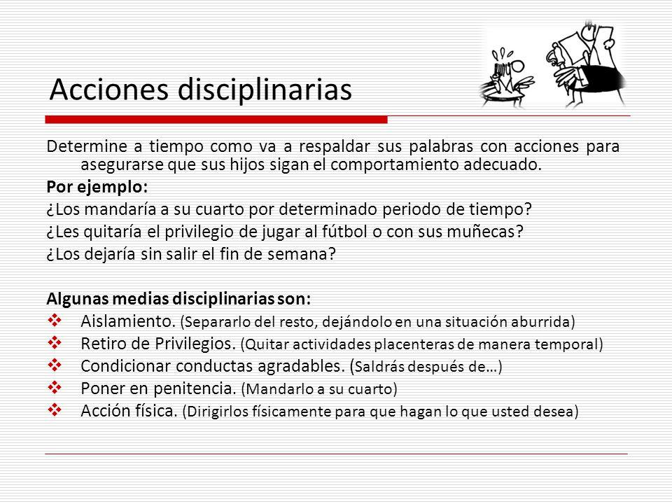 Acciones disciplinarias