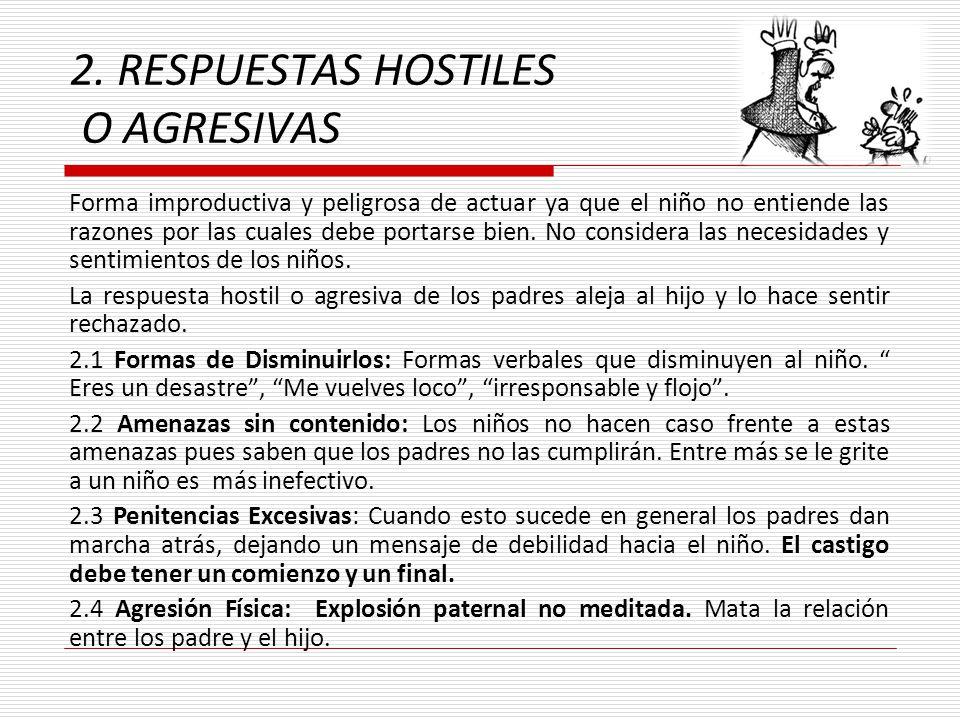 2. RESPUESTAS HOSTILES O AGRESIVAS