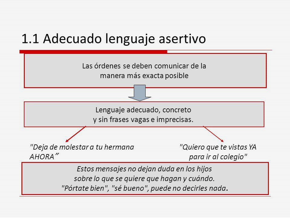 1.1 Adecuado lenguaje asertivo