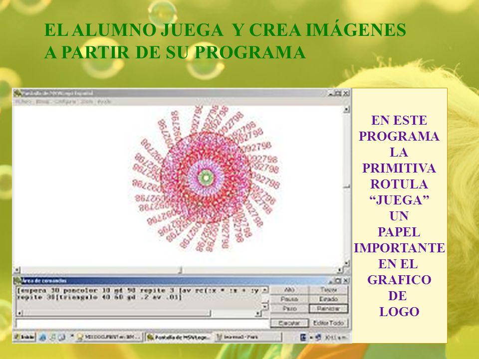 EL ALUMNO JUEGA Y CREA IMÁGENES A PARTIR DE SU PROGRAMA