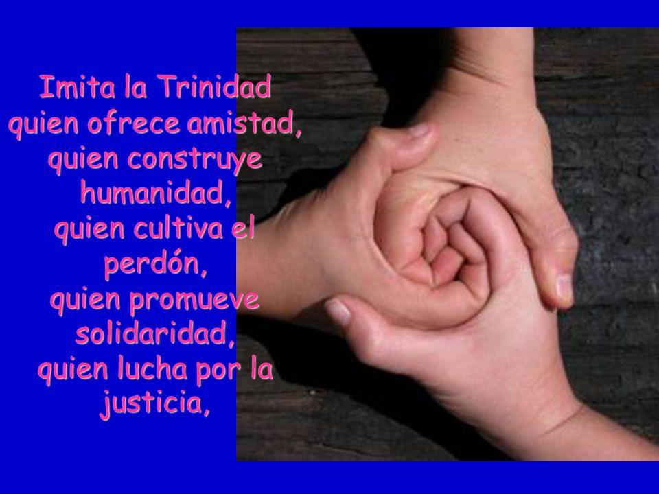 Imita la Trinidad quien ofrece amistad, quien construye humanidad, quien cultiva el perdón, quien promueve solidaridad, quien lucha por la justicia,