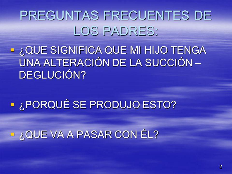 PREGUNTAS FRECUENTES DE LOS PADRES: