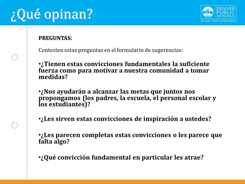 ¿Qué opinan Text here. PREGUNTAS: Contesten estas preguntas en el formulario de sugerencias:
