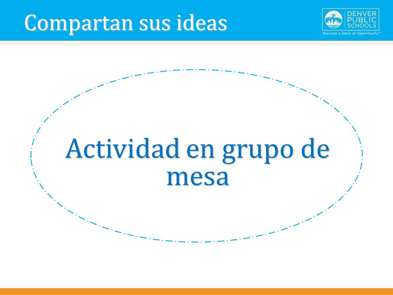Actividad en grupo de mesa