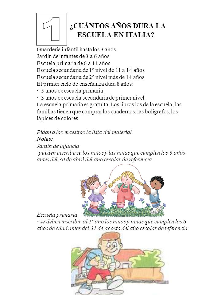 1 ¿CUÁNTOS AÑOS DURA LA ESCUELA EN ITALIA