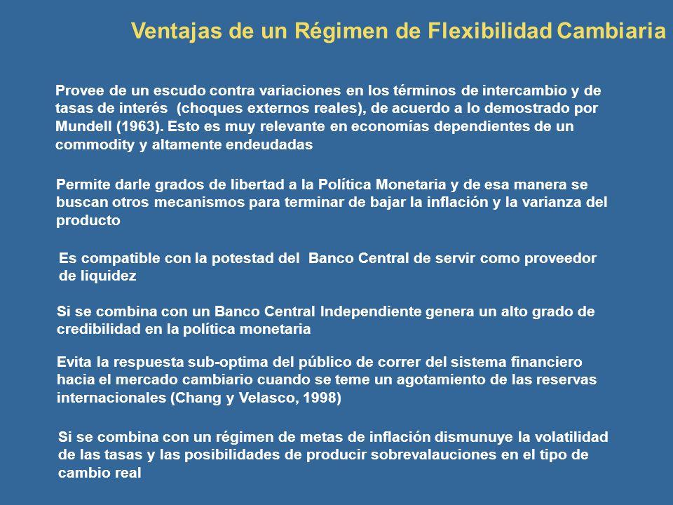 Ventajas de un Régimen de Flexibilidad Cambiaria