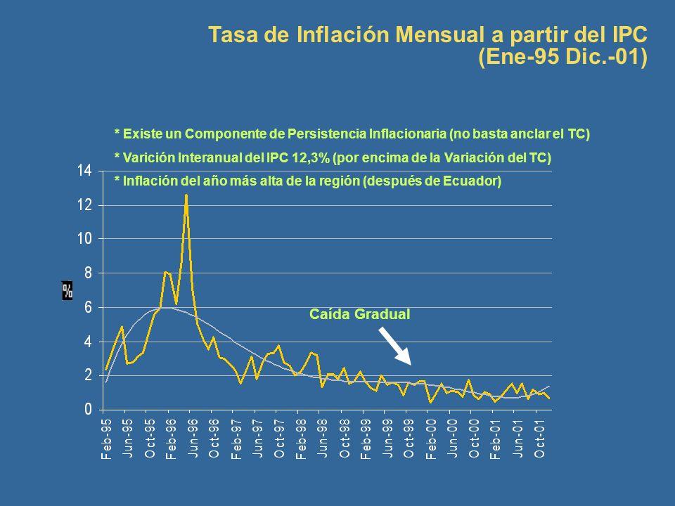 Tasa de Inflación Mensual a partir del IPC (Ene-95 Dic.-01)