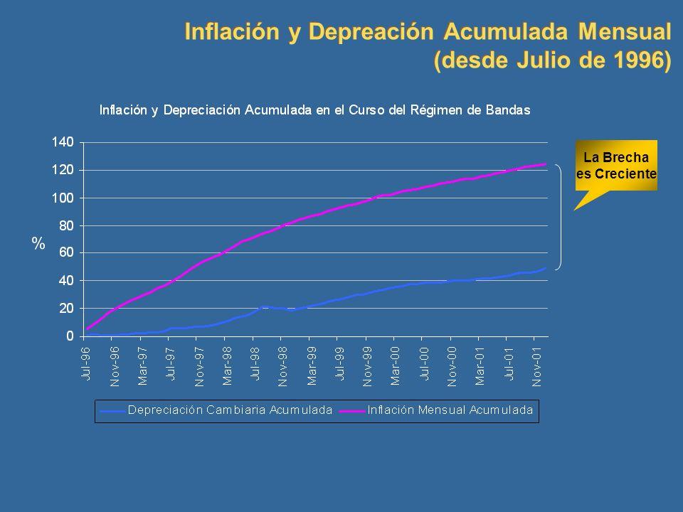 Inflación y Depreación Acumulada Mensual (desde Julio de 1996)