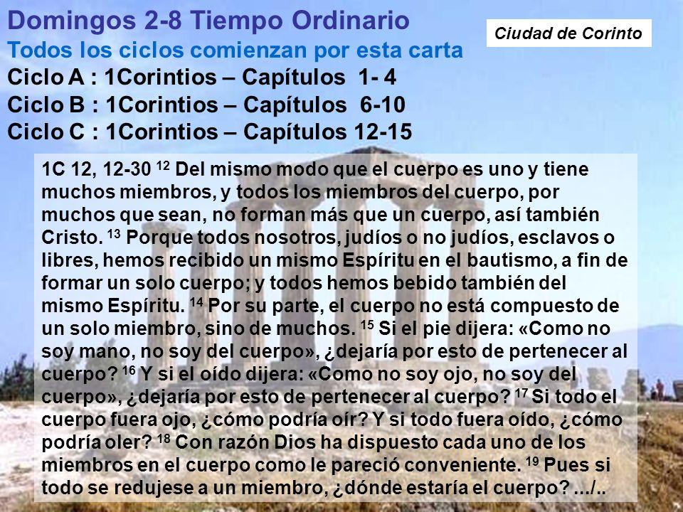 Domingos 2-8 Tiempo Ordinario Todos los ciclos comienzan por esta carta Ciclo A : 1Corintios – Capítulos 1- 4 Ciclo B : 1Corintios – Capítulos 6-10