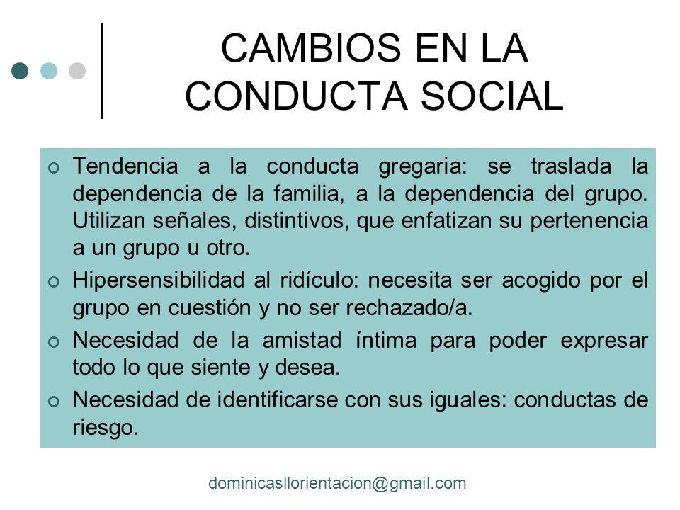 CAMBIOS EN LA CONDUCTA SOCIAL
