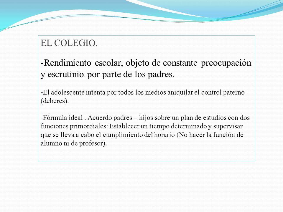 EL COLEGIO. Rendimiento escolar, objeto de constante preocupación y escrutinio por parte de los padres.