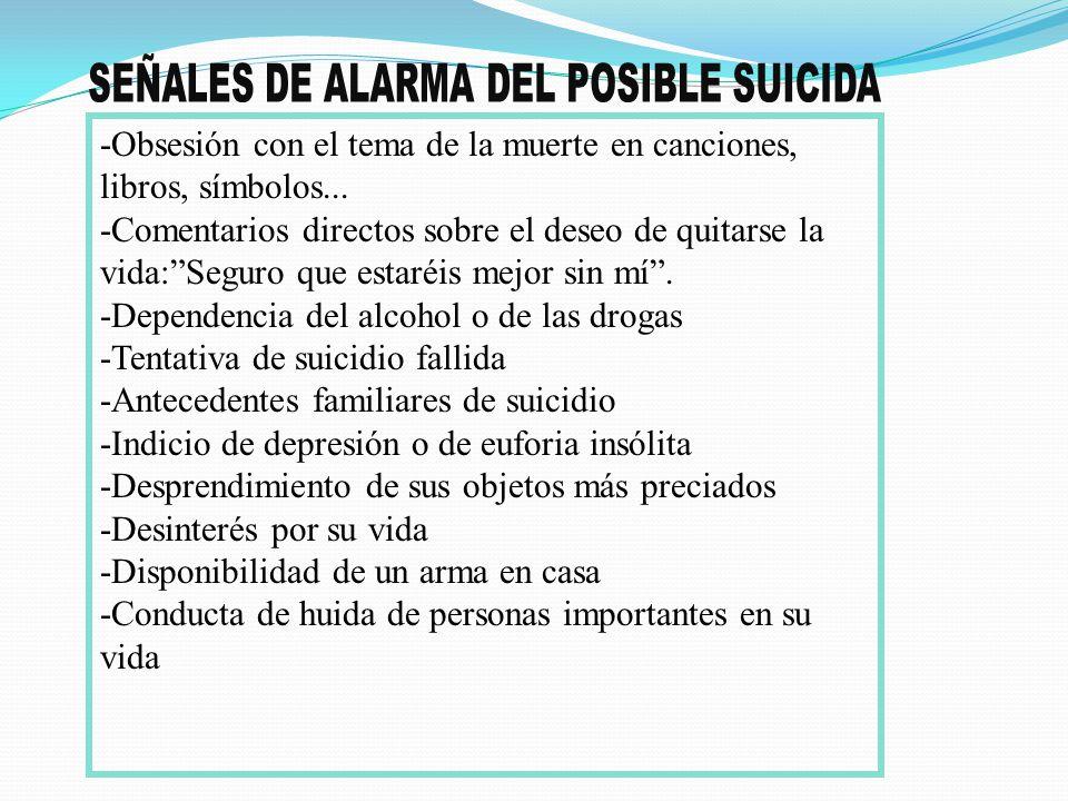 SEÑALES DE ALARMA DEL POSIBLE SUICIDA