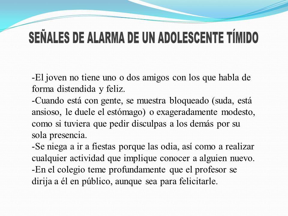 SEÑALES DE ALARMA DE UN ADOLESCENTE TÍMIDO