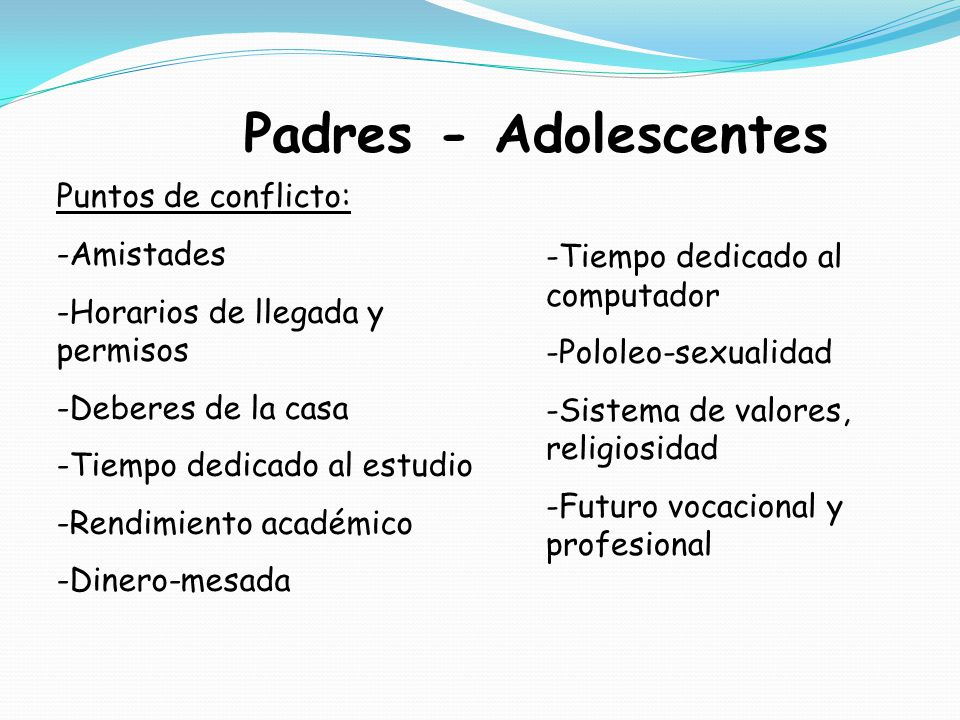 Padres - Adolescentes Puntos de conflicto: Amistades