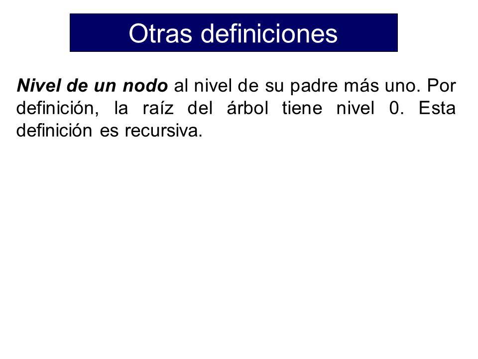 Otras definiciones Nivel de un nodo al nivel de su padre más uno.