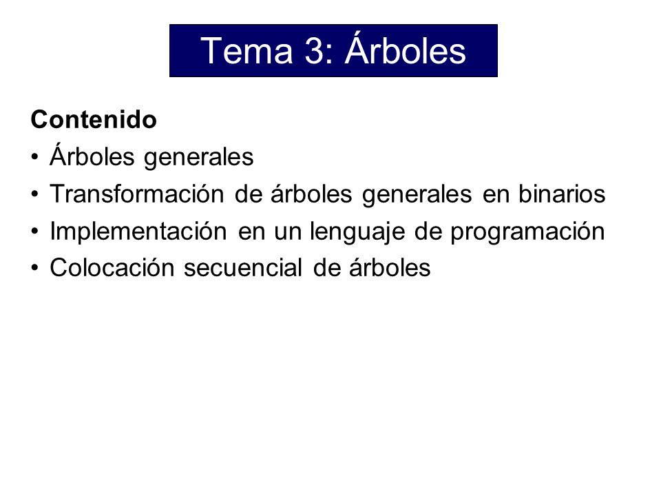 Tema 3: Árboles Contenido Árboles generales