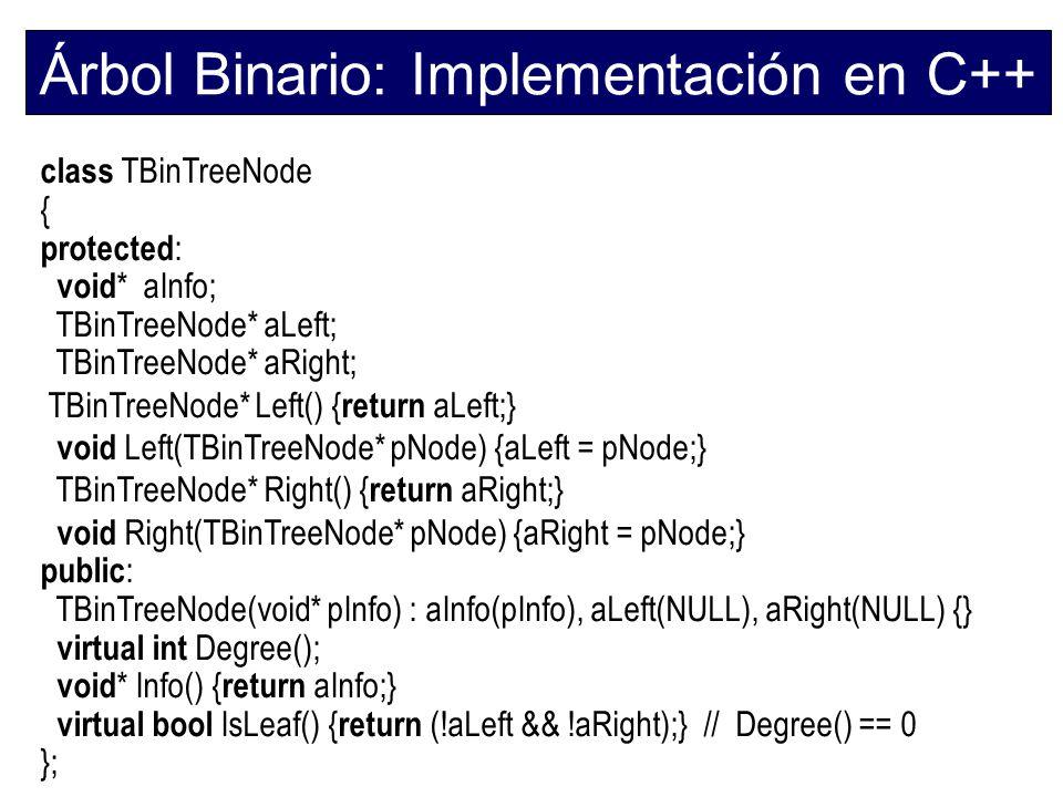 Árbol Binario: Implementación en C++