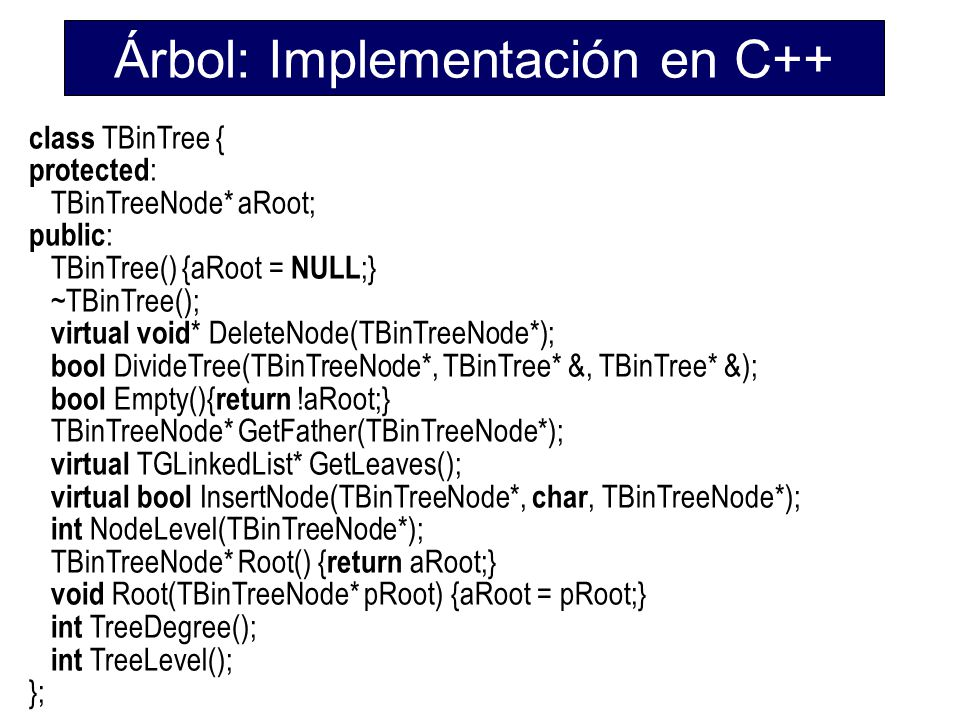 Árbol: Implementación en C++