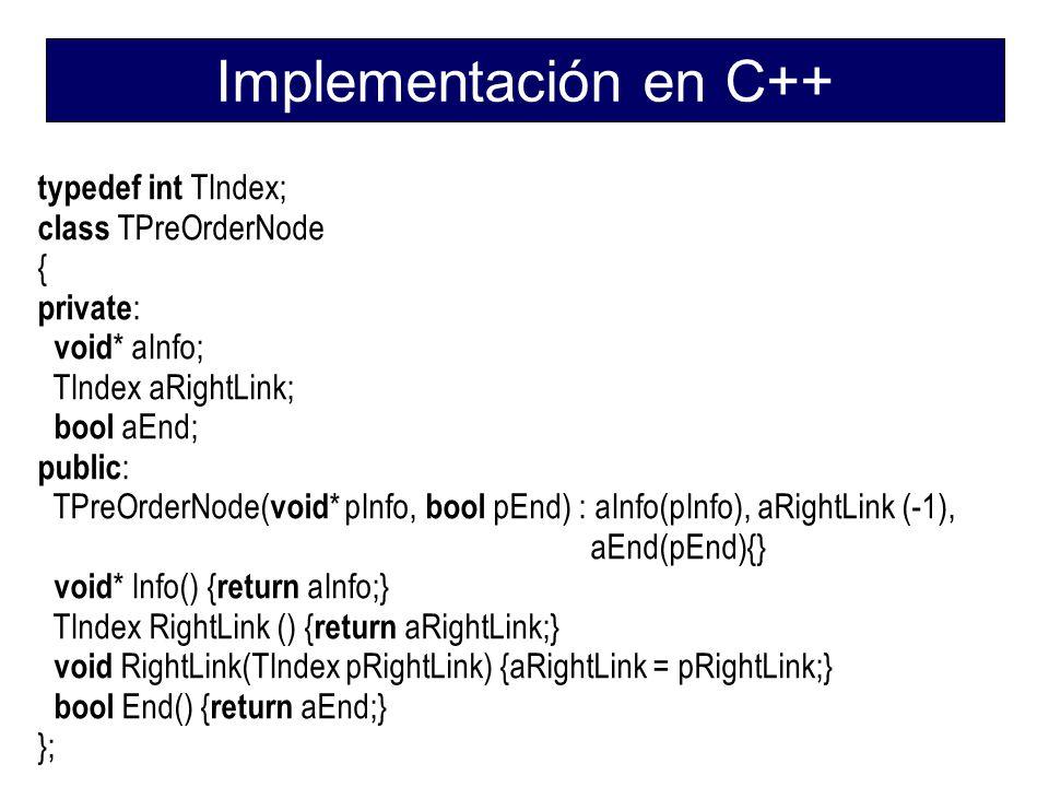 Implementación en C++ typedef int TIndex; class TPreOrderNode {