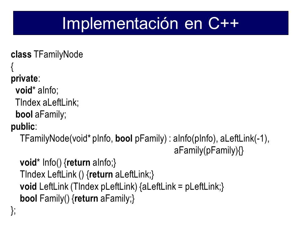 Implementación en C++ class TFamilyNode { private: void* aInfo;