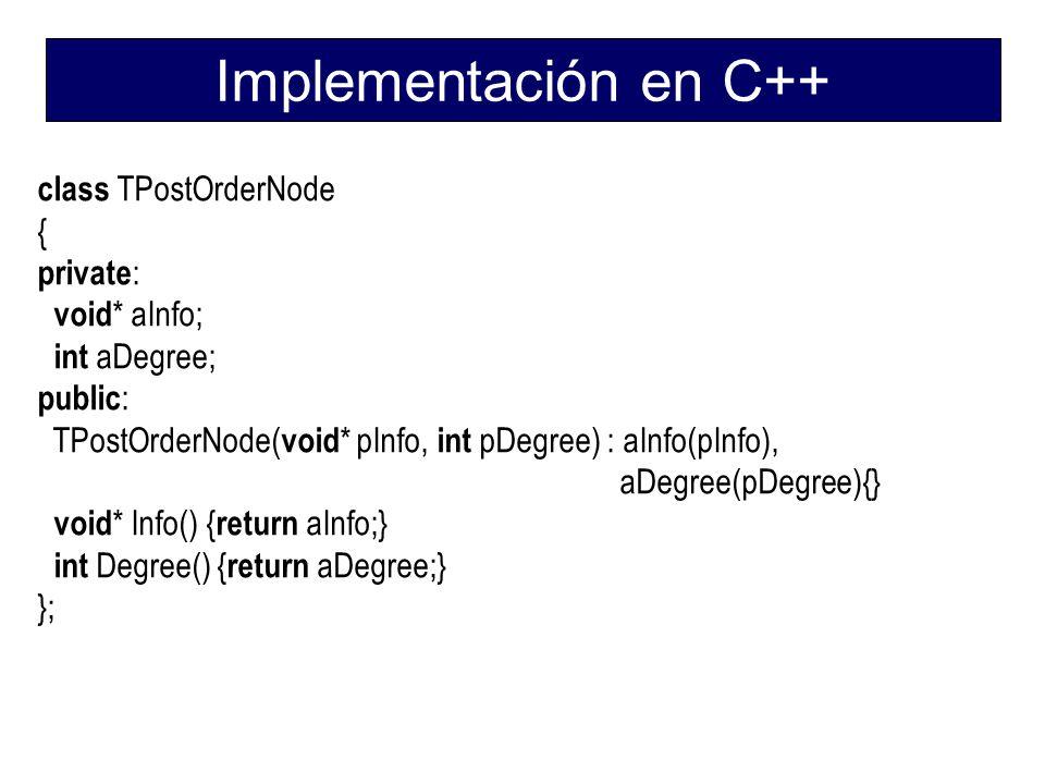 Implementación en C++ class TPostOrderNode { private: void* aInfo;