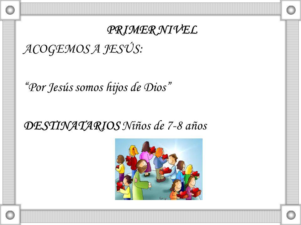 PRIMER NIVEL ACOGEMOS A JESÚS: Por Jesús somos hijos de Dios DESTINATARIOS Niños de 7-8 años