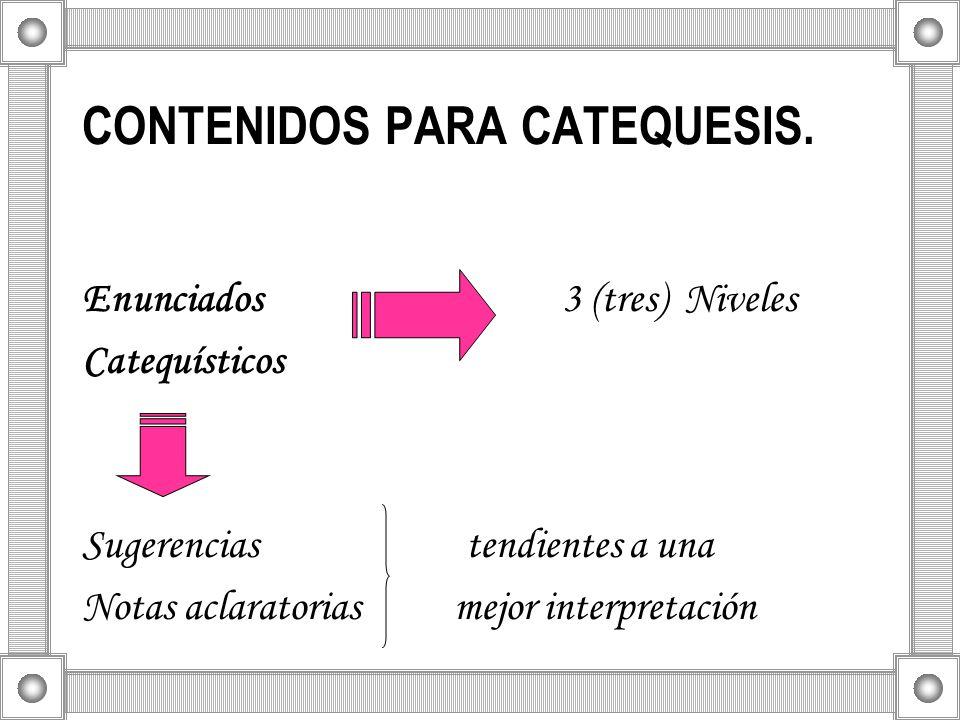 CONTENIDOS PARA CATEQUESIS.