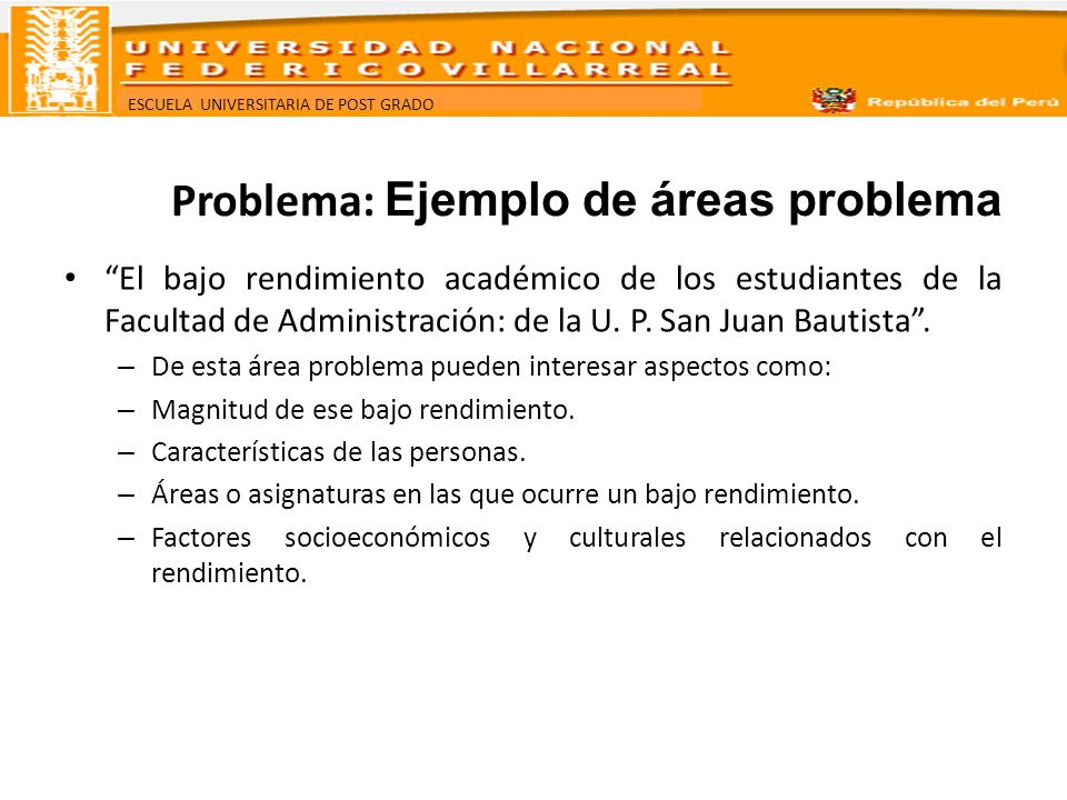 Problema: Ejemplo de áreas problema