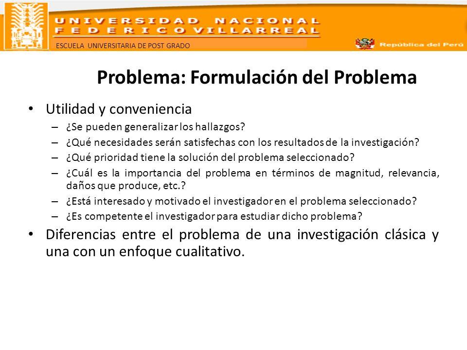 Problema: Formulación del Problema
