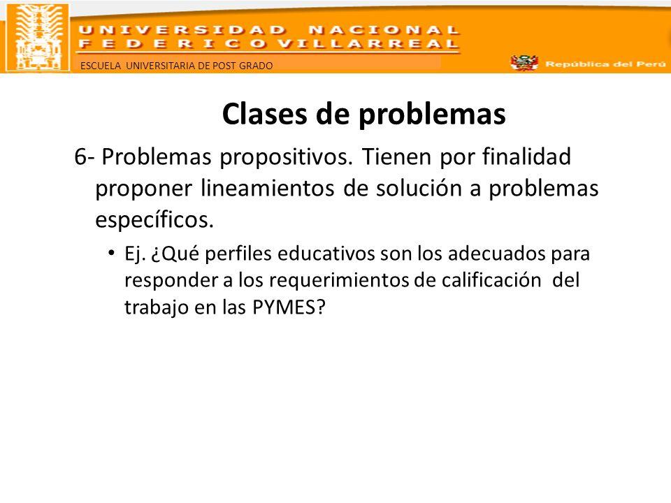 Clases de problemas6- Problemas propositivos. Tienen por finalidad proponer lineamientos de solución a problemas específicos.