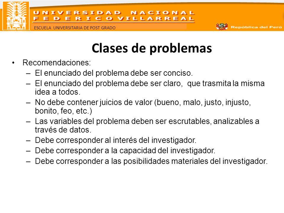 Clases de problemas Recomendaciones: