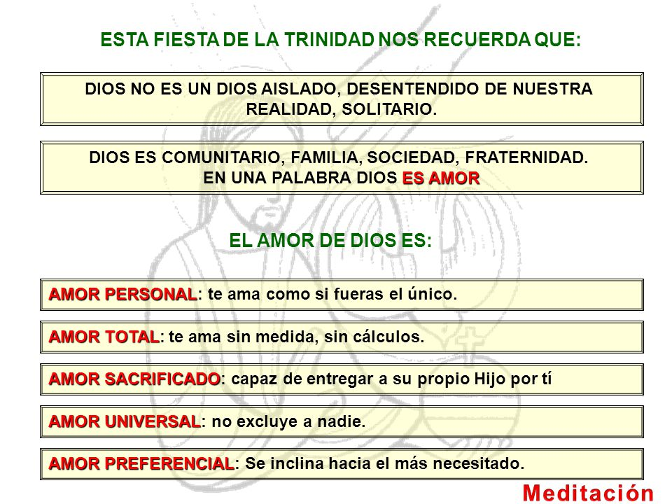 Meditación ESTA FIESTA DE LA TRINIDAD NOS RECUERDA QUE: