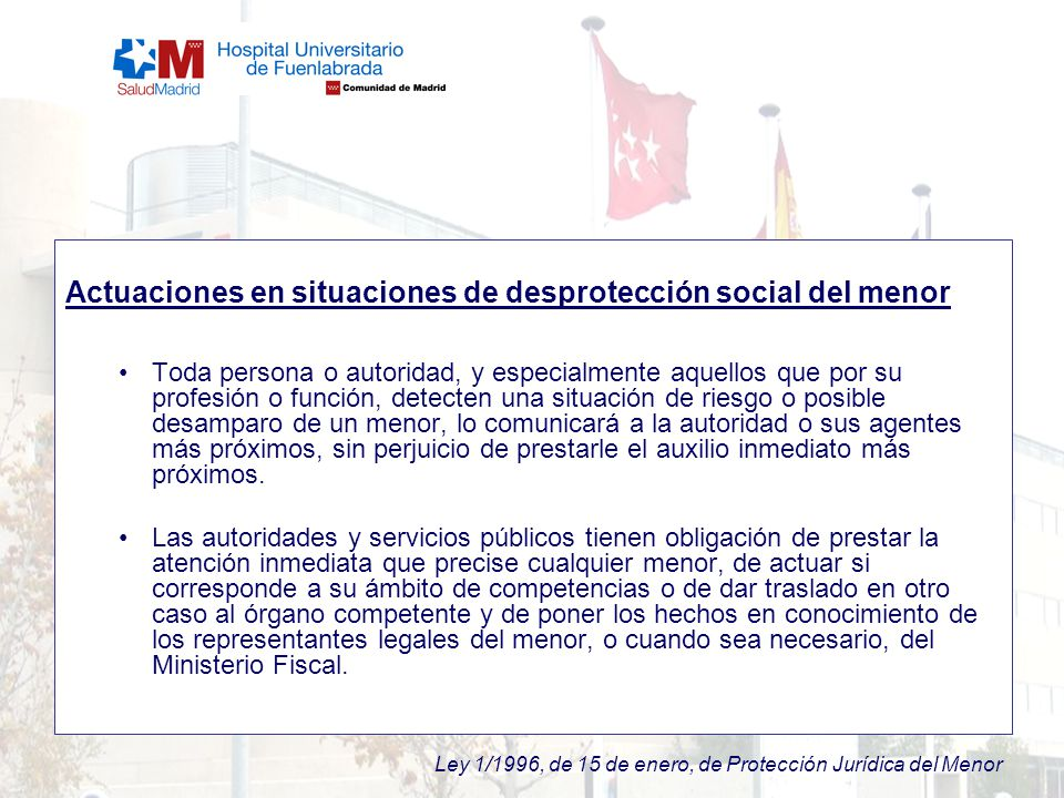 Actuaciones en situaciones de desprotección social del menor