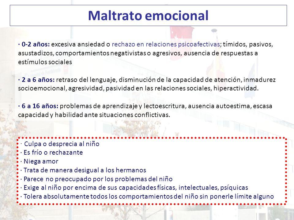 Maltrato emocional · 0-2 años: excesiva ansiedad o rechazo en relaciones psicoafectivas; tímidos, pasivos,