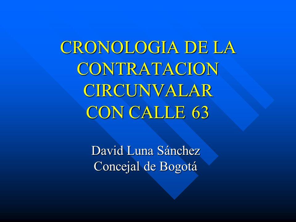 CRONOLOGIA DE LA CONTRATACION CIRCUNVALAR CON CALLE 63