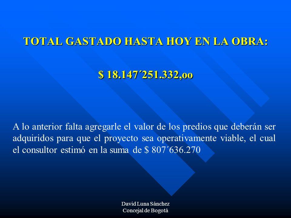 TOTAL GASTADO HASTA HOY EN LA OBRA: $ 18.147´251.332,oo